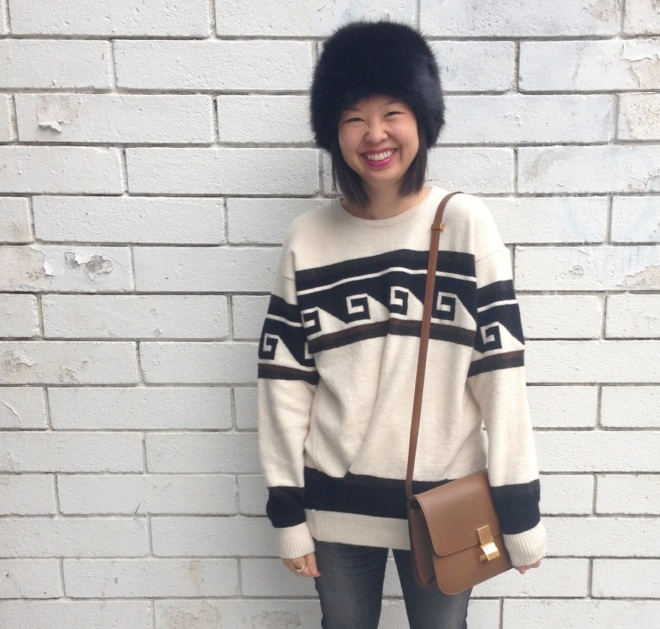 zara fur hat and isabel marant samuel sweater