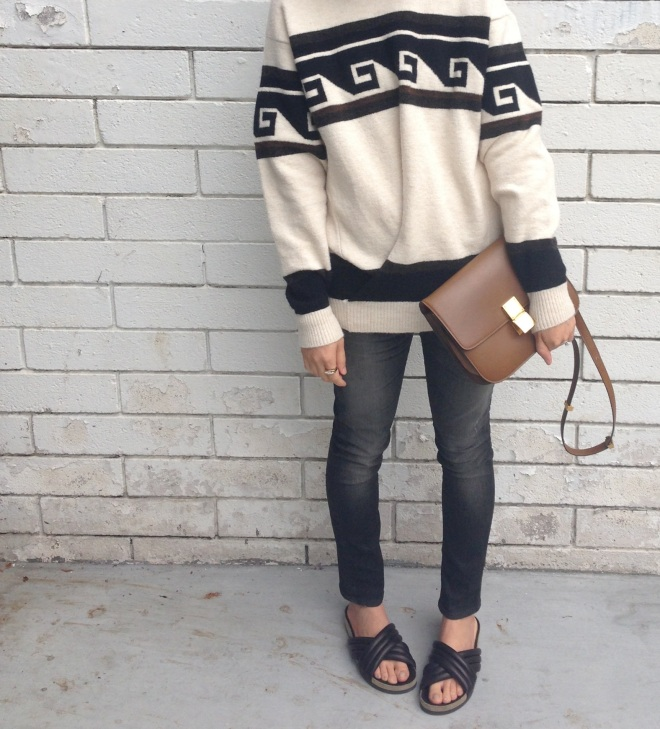 isabel marant samuel sweater, isabel marant holden black slides and celine box bag