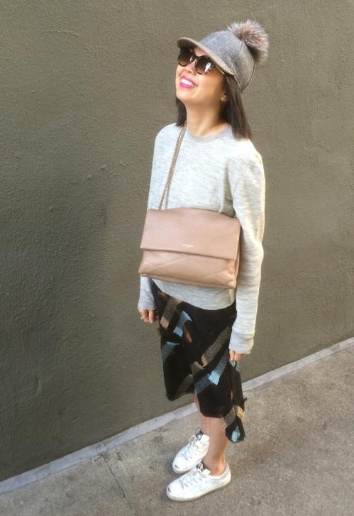 fur pom baseball cap, vintage prada skirt, lanvin sugar bag and golden goose sneakers