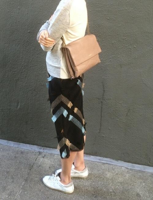 vintage prada skirt with golden goose superstar sneakers