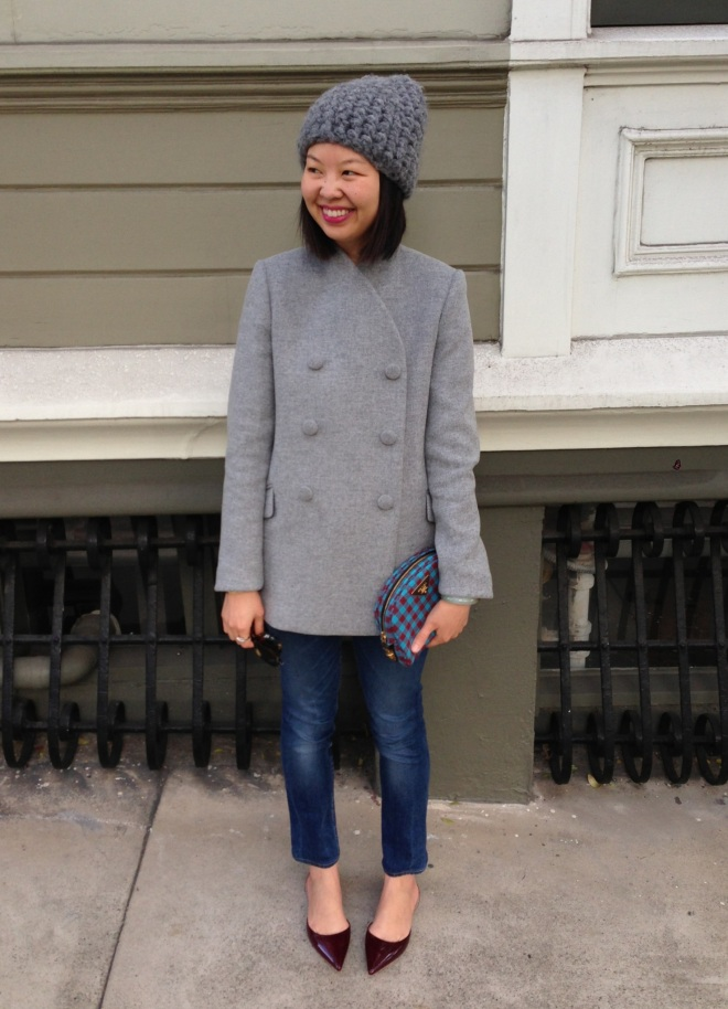 tzipporah beanie, proenza schouler double breasted wool jacket in gray, acne jeans and rochas patent flats