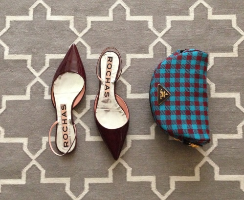 rochas patent sling back flats in burgundy and prada checkered wool clutch bag