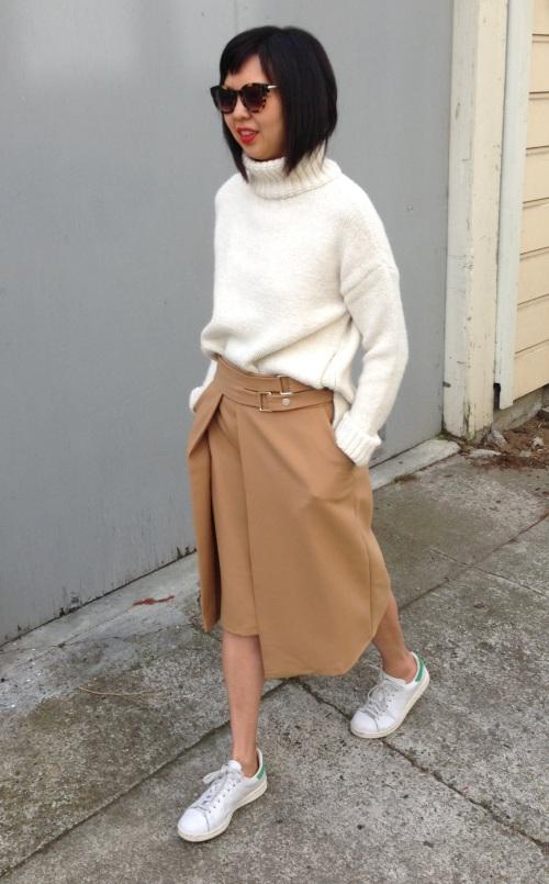 zara side zip sweater and zara double buckle skirt