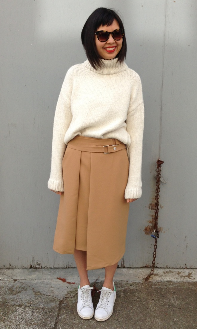 zara sweater and zara skirt and adidas stan smiths