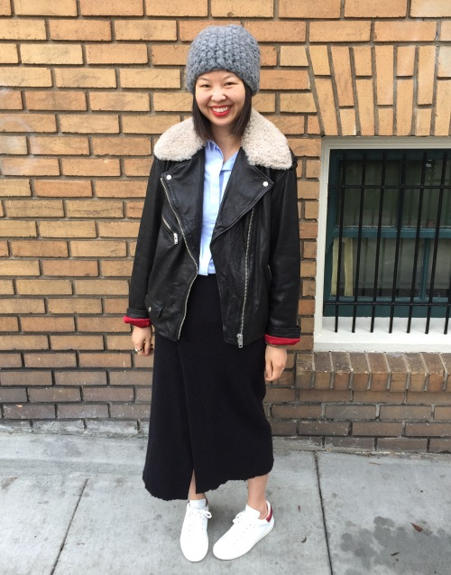 etoile by isabel marant shearling collar benny moto jacket with isabel marant kiara wrap skirt and bart sneakers