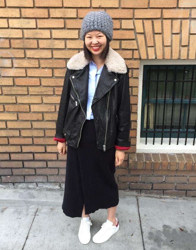 etoile by isabel marant shearling collar benny moto jacket with isabel marant kiara wrap skirt and bart sneakers