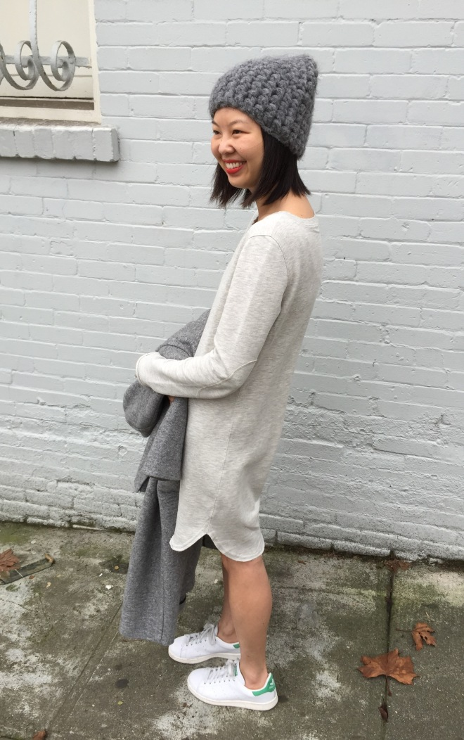 ATM sweatshirt dress and Adidas stan smiths