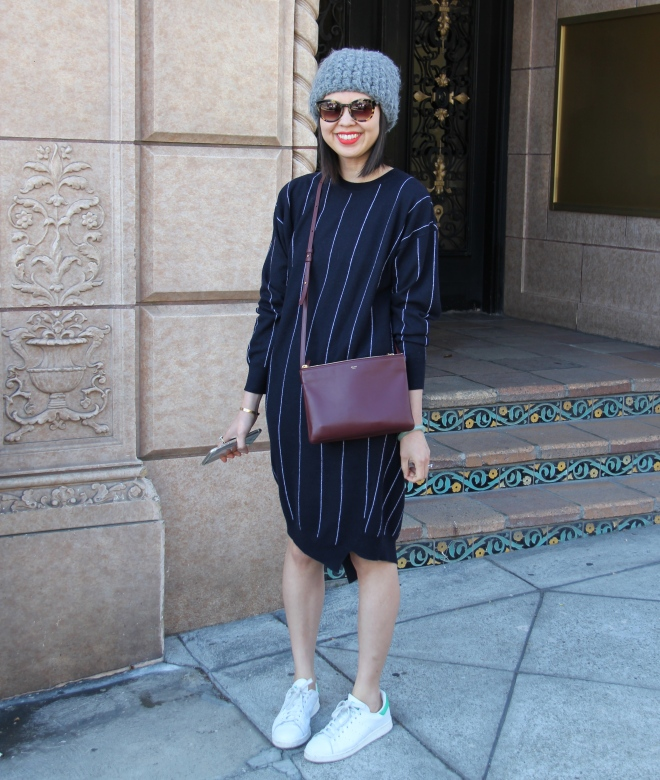 tzipporah beanie, stella mccartney striped sweater dress, celine trio bag, adidas stan smiths