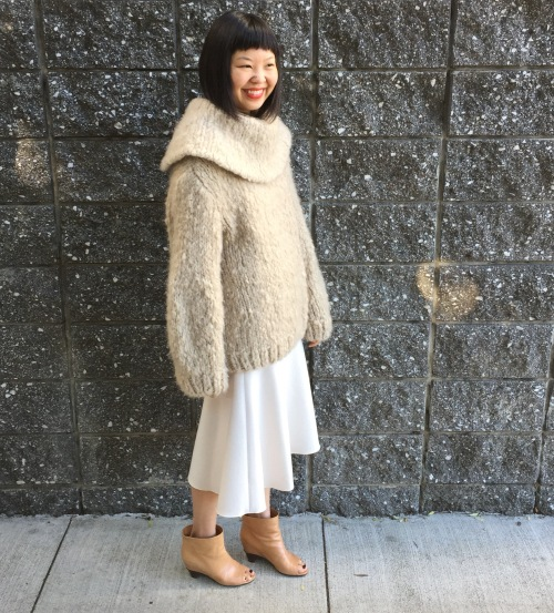 sweater and skirt by the row