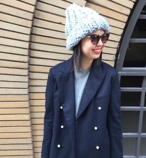 h&m chunky knit beanie and celine pearl button blazer