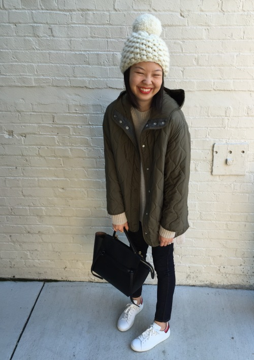 pom beanie by nessa vendetta knits, stella mccartney quilted coat and celine belt bag