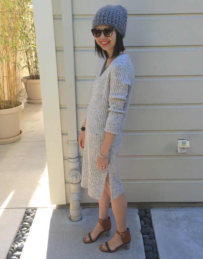 tzipporah beanie, zara v-neck ribbed sweater dress and celine bam bam sandals