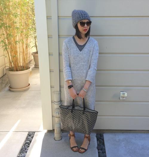 tzipporah beanie, zara ribbed sweater dress, goyard bag and celine bam bam sandals