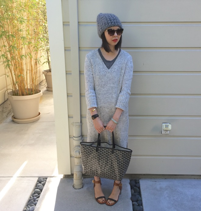 tzipporah beanie, zara ribbed sweater dress, goyard bag and celine bam bam sandals