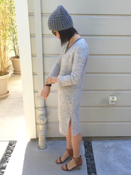 zara ribbed v-neck sweater dress with side slit