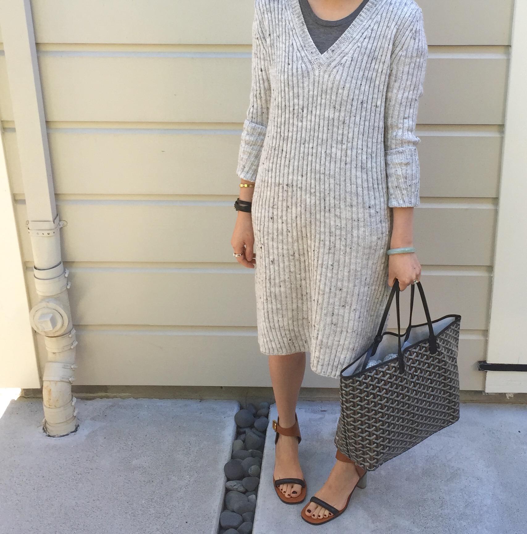 3629c1cd328c ... sweater dress with side slit goyard bag and celine bam bam sandals ...
