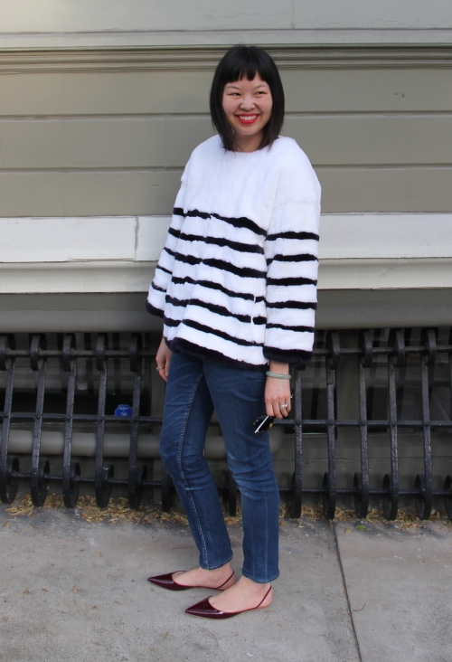 les nouvelles striped fur pull-over top with acne jeans and rochas slingbacks