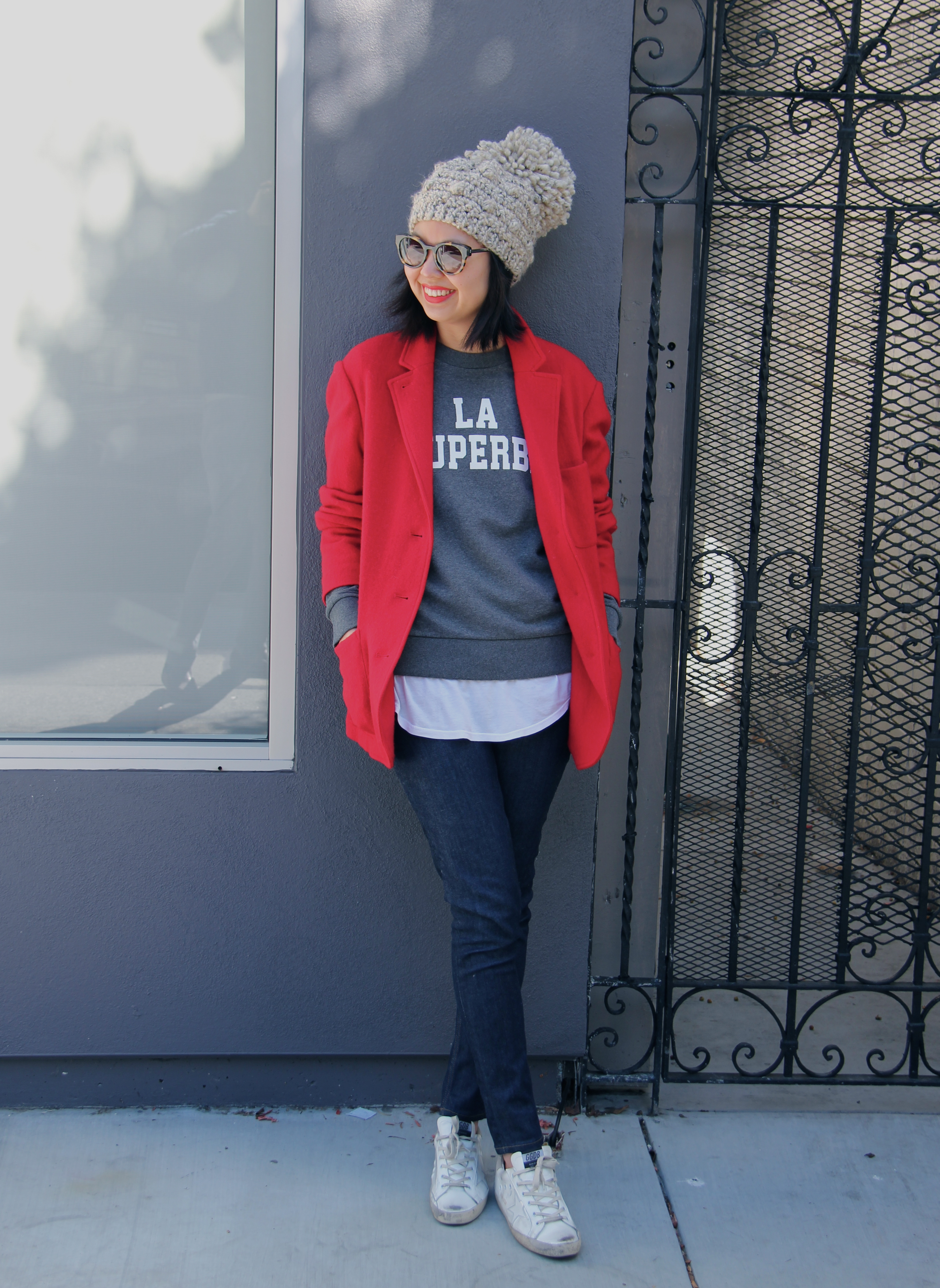 red toile by isabel marant jada jacket bobble pom hat ... fe429ae86cac