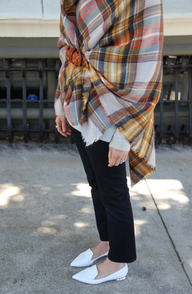 zara plaid scarf details and nicholas kirkwood beya loafers