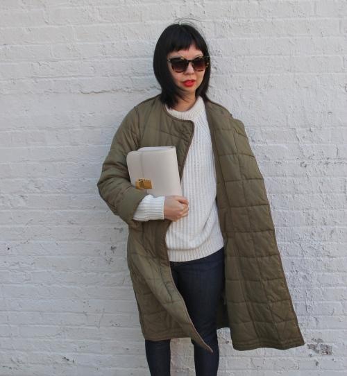 ivory celine box bag and Zara sweater