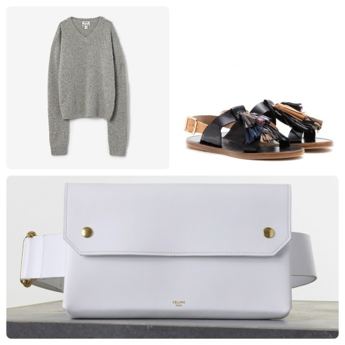 acne tosca pill sweater, isabel marant clay sandals and celine white bumbag