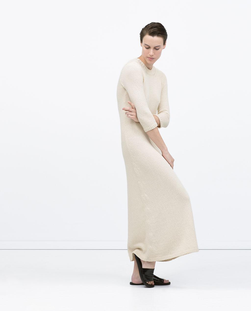 05984ef8 Celine RTW SS15 long knit dress Zara long knit dress in ecru