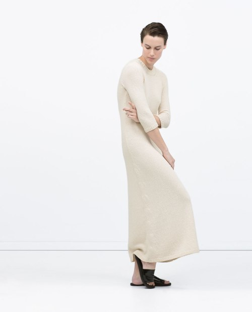 Zara long knit dress in ecru