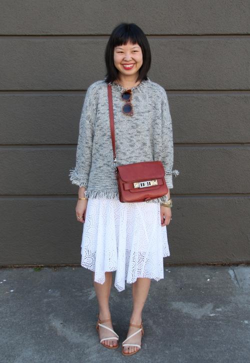 isabel marant douglas knitted sweater and isabel marant volta eyelet skirt