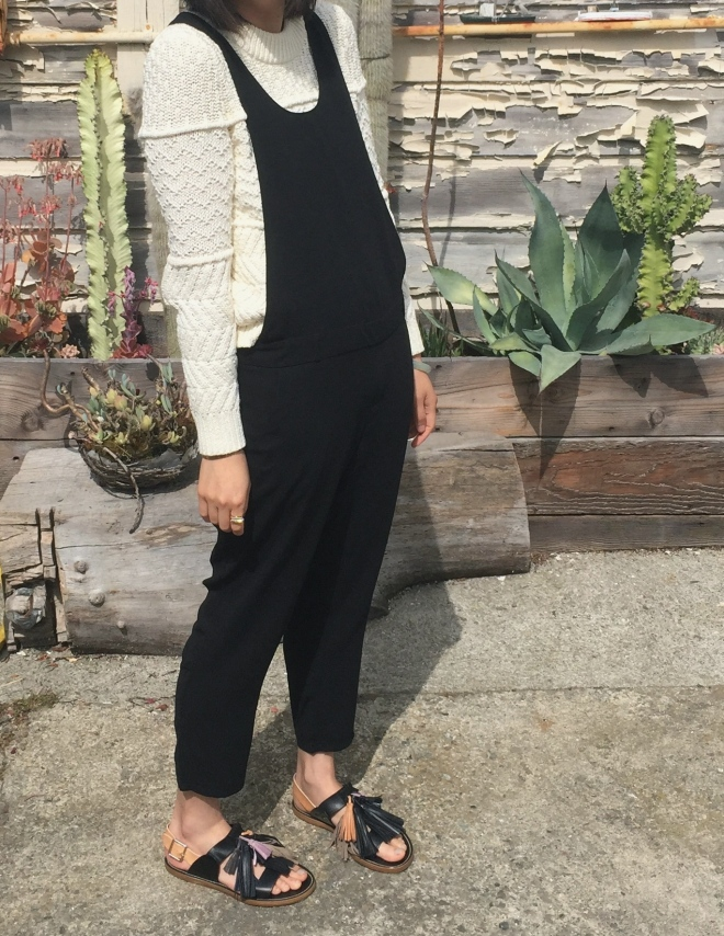 madewell station sweater and pixie market black jumpsuit