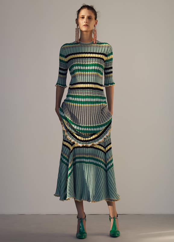 Celine green striped rib-knit dress