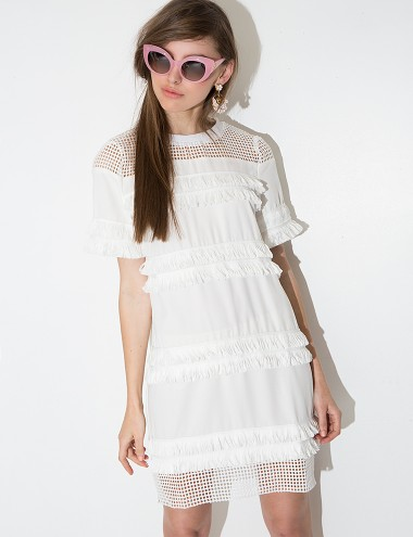 Pixie Market roxy white fringe dress