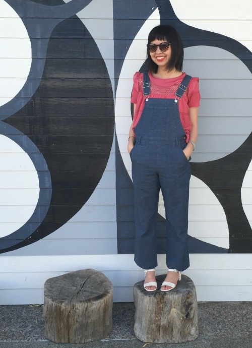Etoile by Isabel Marant cole top in raspberry and APC steinbeck overalls
