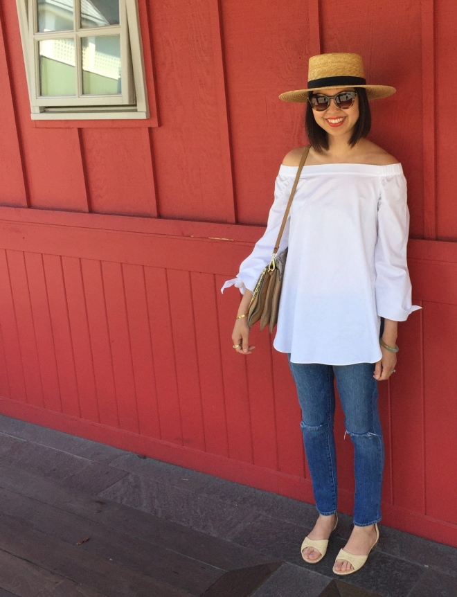 tibi off shoulder tunic in white and janessa leone klint straw hat in natural