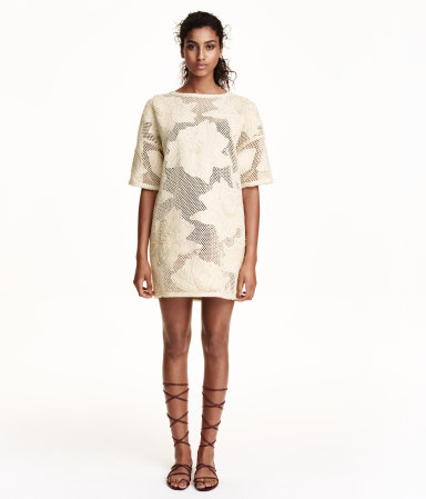 H&M Trend crocheted dress in natural white