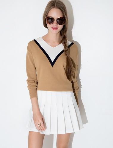 Pixie Market camel varsity sweater