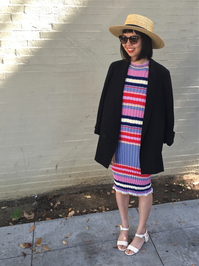 Lemaire jacket with Celine striped zig zag knit dress