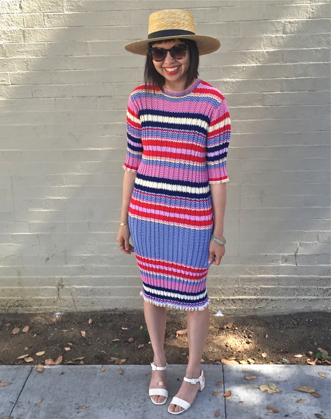 Janessa Leone klint straw hat, Celine red striped knit dress and Maryam Nassir sophie sandals in natural