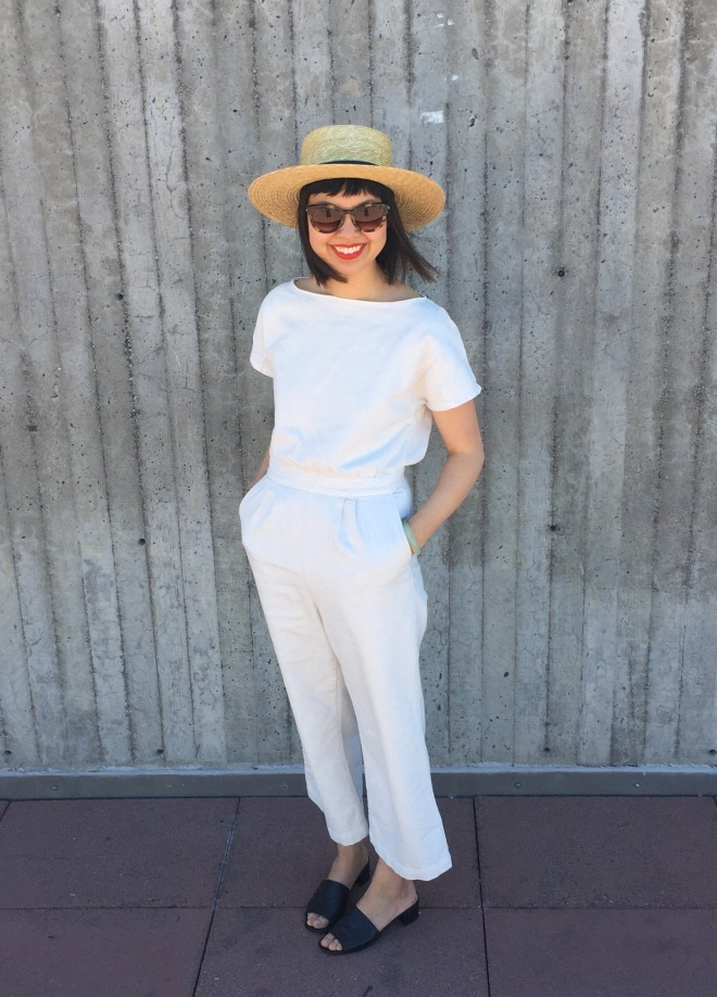 Janessa Leone klint straw hat and Rachel Comey denim utila jumpsuit
