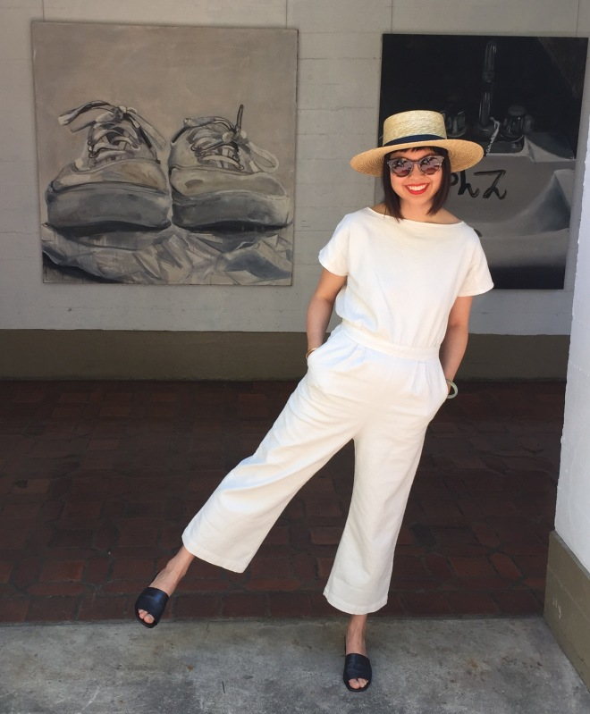 Rachel Comey utlia denim jumpsuit and Maryam Nassir Zadeh black Sophie mules